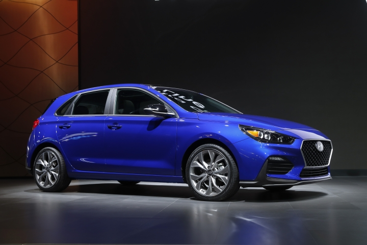 The Hyundai Elantra GT N Line debuts during media previews for the North American International Auto Show in Detroit, Monday, Jan. 14, 2019. (AP Photo/Paul Sancya)