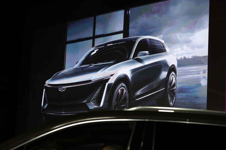 A future Cadillac electric crossover SUV concept is shown on video during media previews for the North American International Auto Show in Detroit, Sunday, Jan. 13, 2019. (AP Photo/Paul Sancya)