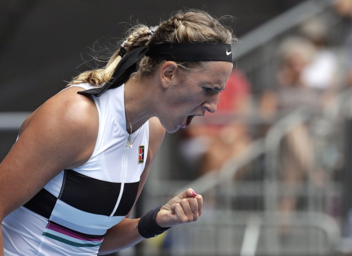Victoria Azarenka of Belarus reacts after winning a point during her first round match against Germany's Laura Siegemund at the Australian Open tennis championships in Melbourne, Australia, Tuesday, Jan. 15, 2019. (AP Photo/Aaron Favila)