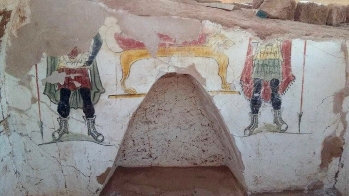 This undated handout photo from the Egyptian Antiquities Authority, shows colorful funeral paintings in an ancient tomb dating back to the Roman period, at the Dakhla Oasis in the Western Desert, Egypt. The Antiquities Ministry said Tuesday, Jan. 15, 2019 that the excavations uncovered two ancient tombs in the Beir Al-Shaghala archaeological site. Mostafa Waziri, secretary general of the Supreme Council of Antiquities, says the tombs were built in mud-brick with different architectural styles. (Egyptian Antiquities Authority via AP)