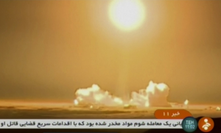 "In this frame grab from Iranian state TV, a video, a rocket carrying a Payam satellite is launched at Imam Khomeini Space Center, a facility under the control of the country's Defense Ministry, in Semnan province, Iran, Tuesday, Jan. 15, 2019. According to Telecommunications Minister Mohammad Javad Azari Jahromi, the rocket failed to reach the ""necessary speed"" in the third stage of its launch. (IRINN, via AP)"