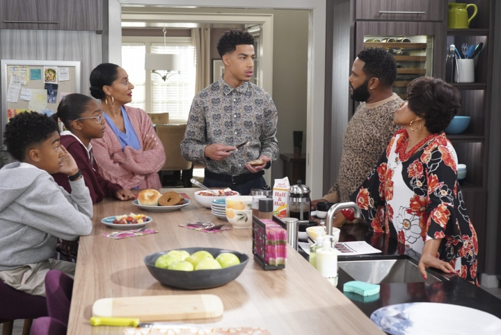 """This image released by ABC shows, from left, Miles Brown, Marsai Martin, Tracee Ellis Ross, Marcus Scribner, Anthony Anderson and Jenifer Lewis in a scene from """"black-ish."""" In the episode airing on Tuesday, Jan. 15, Dre, played by Anthony Anderson, and Bow, played by Ross, are furious after Diane, played by Martin, isn't lit properly in her class photo. The episode outlines the history of colorism in depth while injecting some humor. (Ron Tom/ABC via AP)"""