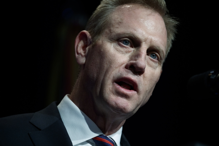 Acting Secretary of Defense Patrick Shanahan during an event about American missile defense doctrine with President Donald Trump, Thursday, Jan. 17, 2019, at the Pentagon. (AP Photo/ Evan Vucci)