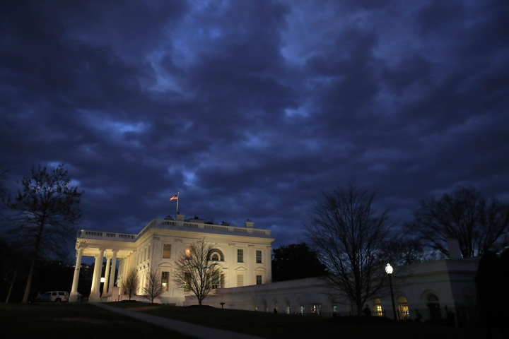 In this Jan. 8, 2019, photo, clouds roll over the White House, Tuesday Jan. 8, 2019, in Washington. The partial government shutdown is hitting home for President Donald Trump in a very personal way. He lives in government-run housing, after all. Just 21 of the roughly 80 people who help care for the White House _ from butlers to electricians to chefs _ are reporting to work. The rest have been furloughed.(AP Photo/Jacquelyn Martin, File)
