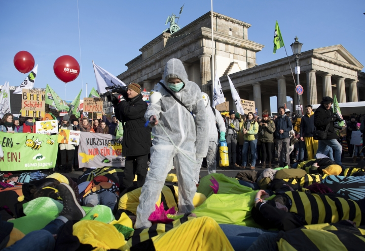 """Demonstrators protest formore animal welfare and protection in the agriculture on occasion of the """"Green Week"""" fair in front of the Brandenburg Gate in Berlin, Germany, Saturday, Jan. 19, 2019. ( Ralf Hirschberger/dpa via AP)"""