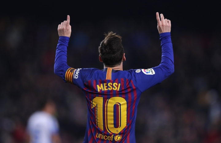 FC Barcelona's Lionel Messi celebrates after scoring during the Spanish La Liga soccer match between FC Barcelona and Leganes at the Camp Nou stadium in Barcelona, Spain, Sunday, Jan. 20, 2019. (AP Photo/Manu Fernandez)