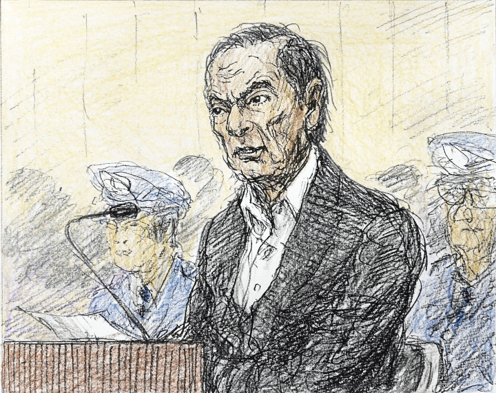 FILE - This Jan. 8, 2019, file courtroom sketch, depicts former Nissan chairman Carlos Ghosn in a courtroom at the Tokyo District Court in Tokyo. Ghosn on Monday, Jan. 21, 2019 asked for his release on bail from a two-month detention in Japan, promising he will report to prosecutors daily and wear an electronic monitoring ankle bracelet. (Nobutoshi Katsuyama/Kyodo News via AP, File)