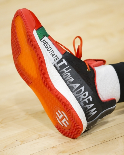 Atlanta Hawks guard Trae Young's sneaker commemorating MLK Day prior to the first half of an NBA basketball game against the Orlando Magic on Monday, Jan. 21, 2019, in Atlanta. (AP Photo/Todd Kirkland)