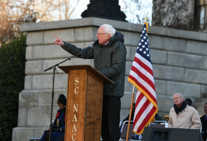 Sen. Bernie Sanders, I-Vt., speaks during Martin Luther King Jr. Day celebrations at the South Carolina Statehouse in Columbia, S.C., on Monday, Jan. 21, 2019. (AP Photo/Meg Kinnard)