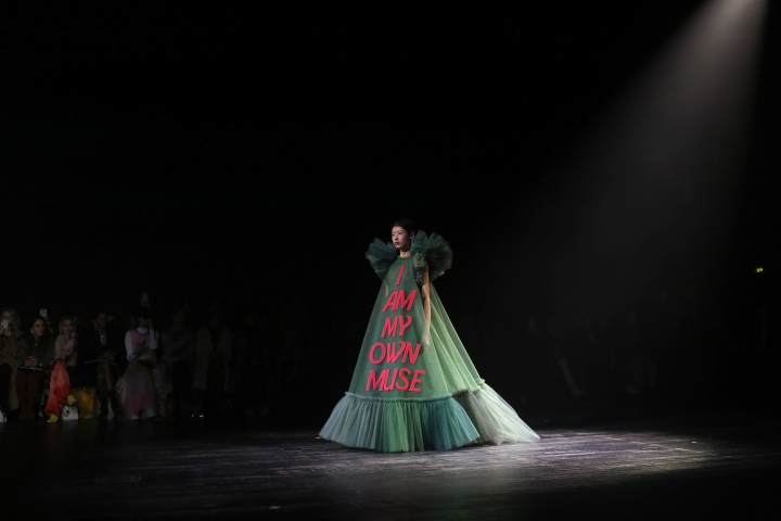 A model wears a creation for the Viktor and Rolf Spring/Summer 2019 Haute Couture fashion collection presented in Paris, Wednesday Jan. 23, 2019. (AP Photo/Thibault Camus)