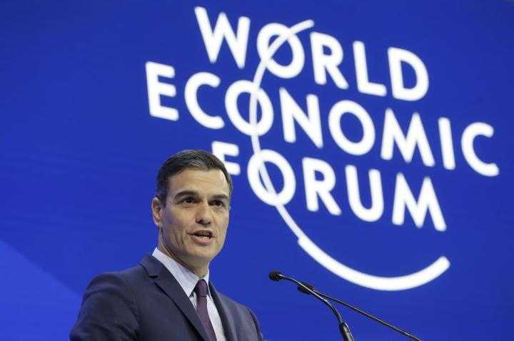 Spain Prime Minister Pedro Sanchez addresses the annual meeting of the World Economic Forum in Davos, Switzerland, Wednesday, Jan. 23, 2019. (AP Photo/Markus Schreiber)