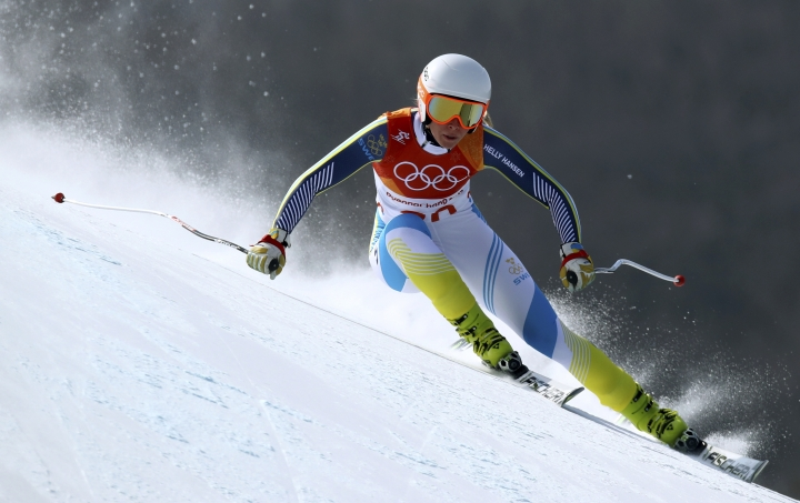 FILE - In this Wednesday, Feb. 21, 2018 file photo, Sweden's Lisa Hoernblad competes in the women's downhill at the 2018 Winter Olympics in Jeongseon, South Korea. Three Swedish skiers competing in this weekend's women's World Cup races helped save a course volunteer's life before their first downhill training session. Lisa Hoernblad gave the stricken man first-aid after he suffered what appeared to be a heart attack and followed up by finishing second in her run on Thursday, Jan. 24, 2019. (AP Photo/Alessandro Trovati, file)