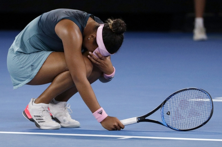 Japan's Naomi Osaka reacts after losing point to Petra Kvitova of the Czech Republic during the women's singles final at the Australian Open tennis championships in Melbourne, Australia, Saturday, Jan. 26, 2019. (AP Photo/Mark Schiefelbein)