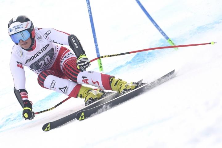 Austria's Ramona Siebenhofer competes during an alpine ski, women's World Cup super G, in Garmisch Partenkirchen, Germany, Saturday Jan. 26, 2019. (AP Photo/Marco Tacca)