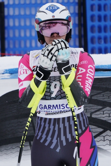 Liechtenstein's Tina Weirather arrives at the finish area of an alpine ski, women's World Cup super G, in Garmisch Partenkirchen, Germany, Saturday Jan. 26, 2019. (AP Photo/Giovanni Auletta)