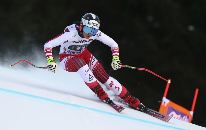 Austria's Stephanie Venier speeds down the course to win the women's downhill in Garmisch-Partenkirchen, Germany, Sunday, Jan.27, 2019 ( Karl-Josef Hildenbrand/dpa via AP)