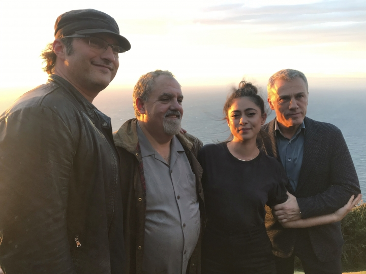 "In this photo taken on Jan. 9, 2019, from left, director Robert Rodriguez, producer Jon Landau, actors Rosa Salazar and Christoph Waltz pose for a photo near Wellington, New Zealand. The movie ""Alita: Battle Angel"" has been 20 years in the making, and producer Jon Landau is confident it will finally signal a success for Hollywood in a genre which has proved problematic. (AP Photo/Nick Perry)"