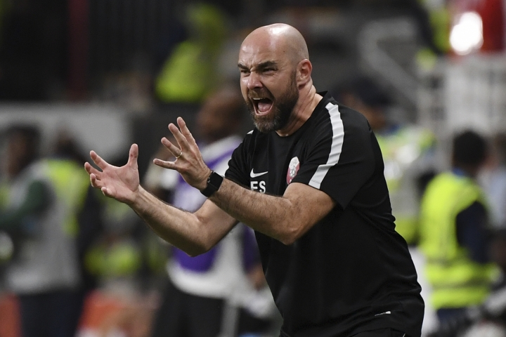 Qatar's head coach Felix Sanchez of Spain, directs his team during the AFC Asian Cup semifinal soccer match between United Arab Emirates and Qatar at Mohammed Bin Zayed Stadium in Abu Dhabi, United Arab Emirates, Tuesday, Jan. 29, 2019. (AP Photo/Hassan Ammar)