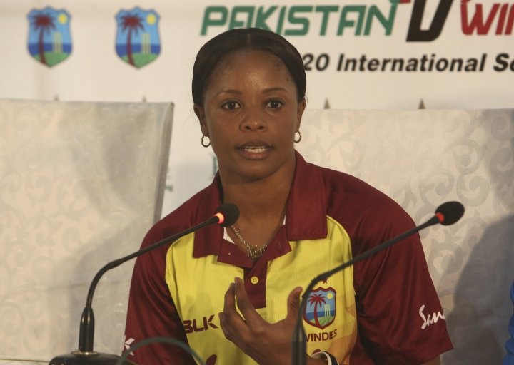 West Indies cricket captain Merissa Aguilleira addresses press conference in Karachi, Pakistan, Wednesday, Jan. 30, 2019. The West Indies women's team arrived in Karachi on Wednesday to play three Twenty20 matches as Pakistan once again bids to showcase its ability to host international cricket. (AP Photo/Fareed Khan)