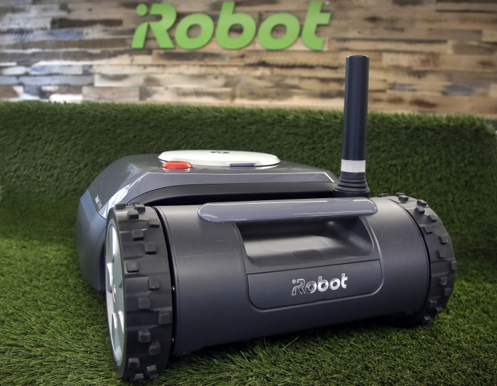 This Wednesday, Jan. 16, 2019 photo shows an iRobot Terra lawn mower in Bedford, Mass. Building a robot lawn mower seemed the logical next step for iRobot, which invented the pioneering robotic vacuum Roomba. But the company's secret, decade-plus lawn mower project was a lot harder than anyone expected. (AP Photo/Elise Amendola)