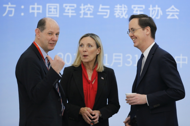 Delegation members from the UN Security Council's five permanent members (P5) from left; Philip Barton of the United Kingdom, Andrea Thompson of the U.S. and Nicolas Roche of France attend a panel discussion after a Treaty on the Non-Proliferation of Nuclear Weapons (NPT) conference in Beijing, China, Thursday, Jan. 31, 2019. The Treaty on the Non-Proliferation of Nuclear Weapons (NPT) conference in Beijing consists of five permanent members (P5) China, France, Russia, the United Kingdom, and the United States. (Thomas Peter/Pool Photo via AP)
