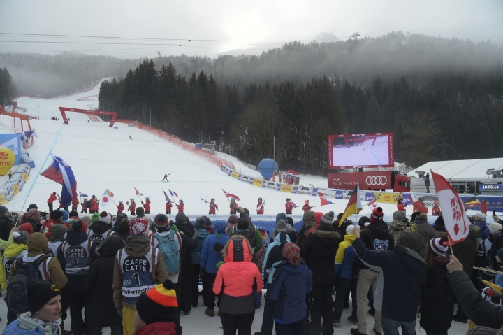 A view of the course and finish line after a men's World Cup downhill was cancelled due to bad weather, in Garmisch Partenkirchen, Germany, Saturday, Feb. 2, 2019. (AP Photo/Marco Tacca)