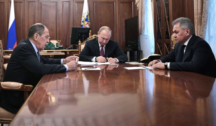 Russian President Vladimir Putin, center, attends a meeting with Russian Foreign Minister Sergey Lavrov, left, and Defense Minister Sergei Shoigu in the Kremlin in Moscow, Russia, Saturday, Feb. 2, 2019. Putin said that Russia will abandon the 1987 Intermediate-Range Nuclear Forces treaty, following in the footsteps of the United States, but noted that Moscow will only deploy intermediate-range nuclear missiles if Washington does so. (Alexei Nikolsky, Sputnik, Kremlin Pool Photo via AP)