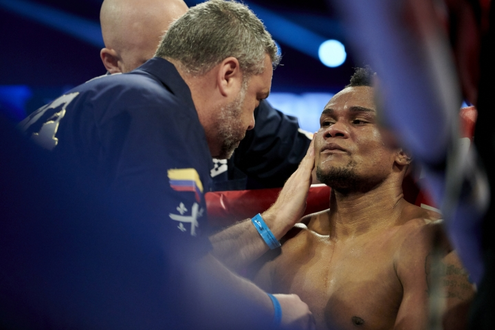 Eleider Alvarez sits on his stool between rounds during a WBO light heavyweight title boxing match against Sergey Kovalev, early Sunday, Feb. 3, 2019, in Frisco, Texas. (AP Photo/Cooper Neill)