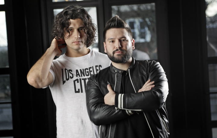 """In this Jan. 31, 2019, photo, Dan Smyers, left, and Shay Mooney, of the duo Dan + Shay, pose in Nashville, Tenn. The duo have been country radio favorites for a while, but broke out big in 2018 with their multiplatinum crossover hit """"Tequila,"""" which is nominated for Grammy Awards for country song of the year and best country duo/group performance. (AP Photo/Mark Humphrey)"""