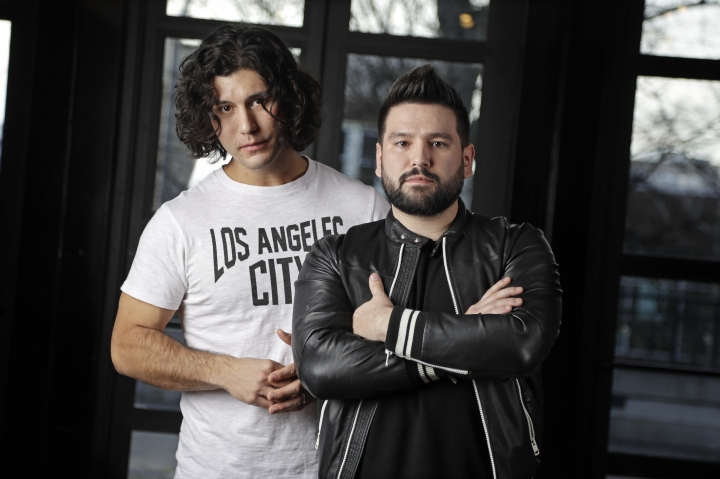 "In this Jan. 31, 2019, photo, Dan Smyers, left, and Shay Mooney, of the duo Dan + Shay, pose in Nashville, Tenn. The duo have been country radio favorites for a while, but broke out big in 2018 with their multiplatinum crossover hit ""Tequila,"" which is nominated for Grammy Awards for country song of the year and best country duo/group performance. (AP Photo/Mark Humphrey)"
