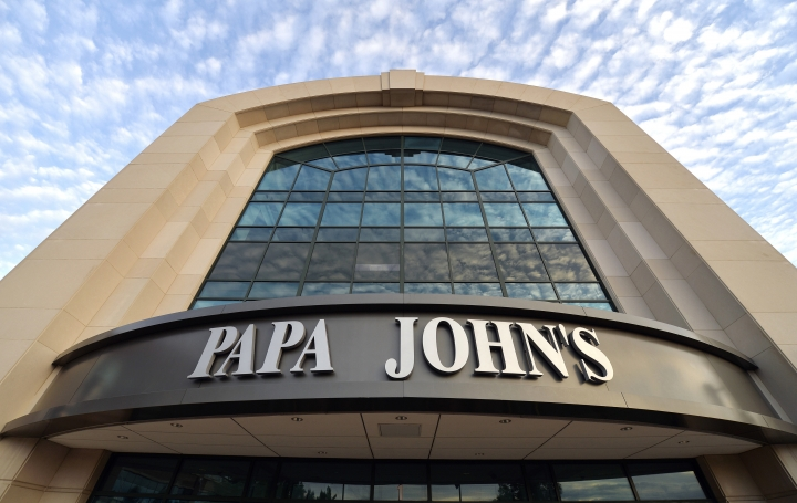 FILE - This July 17, 2018, file photo, shows the corporate headquarters of Papa John's pizza located on their campus, in Louisville, Ky. Starboard is investing $200 million into Papa John's and has named its CEO as chairman of the pizza chain. Starboard Value LP said Monday, Feb. 4, 2019, that CEO Jeffrey Smith will serve as chairman of Papa John's.. (AP Photo/Timothy D. Easley, File)