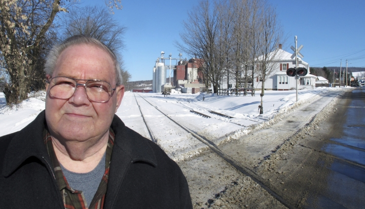 In this Jan. 17, 2019 photo, former town police chief Richard Jewett talks about the night in 1987 when he apprehended a man who carried a bomb across the border from Canada into the United States in Richford, Vt.. At a time when terrorism is part of the discussion about whether to build a wall on the U.S. southern border to protect the country, the Richford incident was the only one of its kind when anyone was caught trying to enter the United States illegally as part of a terrorist plot. (AP Photo/Wilson Ring)