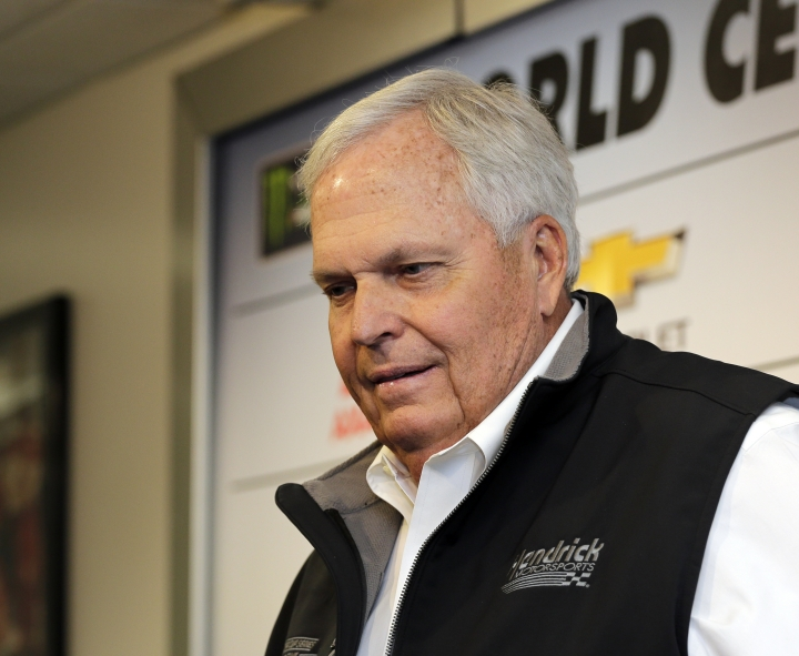 FILE - In this Friday, Feb. 16, 2018 file photo, NASCAR auto racing team owner Rick Hendrick speaks during a news conference at Daytona International Speedway in Daytona Beach, Fla. Rick Hendrick's drivers won only three races last year and the team owner said his organization is far too good to perform so poorly. He vowed 2019 will be better for Jimmie Johnson, Chase Elliott, Alex Bowman and William Byron. The team has adapted to an internal reorganization, the new Chevy Camaro and its overhauled driver roster. Hendrick said he's too competitive to tolerate another subpar season. (AP Photo/Terry Renna, File)