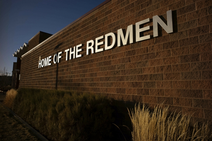 "This Jan. 11, 2019 photo shows the outside of Cedar High School in Cedar City, Utah. The southern Utah high school is getting rid of its ""Redmen"" mascot as it becomes the latest team to shed a Native American moniker deemed offensive to some people. (Trent Nelson/The Salt Lake Tribune via AP)"