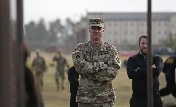 In this Jan. 8, 2019, photo, Maj. Gen. Malcolm B. Frost, Commanding General for the U.S. Army Center for Initial Military Training, U.S. Army Training and Doctrine Command watches troops participate in the new Army combat fitness test at Fort Bragg, N.C. The new test is designed to be a more accurate test of combat readiness than the current requirements. (AP Photo/Gerry Broome)