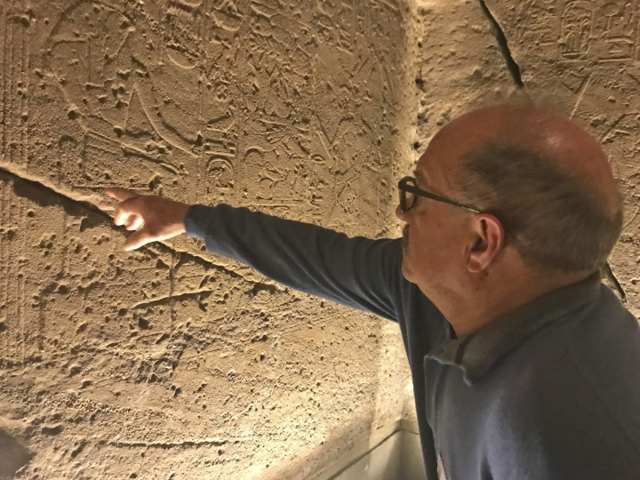 Luciano Paoli shows the inside of the Ellesiya Temple, one of the treasures transported away from an area of the Nile river valley flooded by the construction of the Aswan Dam, at the Egyptian museum in Turin, Italy, Monday, Feb. 4, 2019. Paoli was one of four marble cutters from the Italian quarry city of Carrara brought to help salvage the Abu Simbel temples as part of an international campaign organized by UNESCO in the early 1960s. (AP Photo/Colleen Barry)