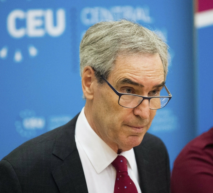"FILE - In this May 30, 2017 file photo, President and Rector of the Central European University, CEU, Michael Ignatieff, speaks during a press conference in Budapest, Hungary. Ignatieff and Reporters Without Borders are among the winners of Israel's prestigious Dan David Prize this year. They are honored for ""Defending Democracy."" (Zoltan Balogh/MTI via AP, File)"