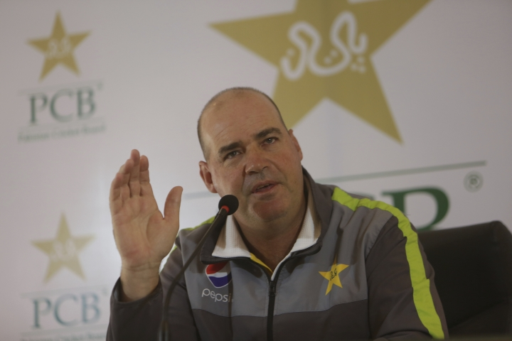 Pakistan cricket team coach Mickey Arthur addresses a news conference in Lahore, Pakistan, Friday, Feb. 8, 2019. Arthur says it's time to move on from captain Sarfraz Ahmed's four-match ban for a racial taunt and concentrate on finalizing the team for the Cricket World Cup. (AP Photo/K.M. Chaudary)