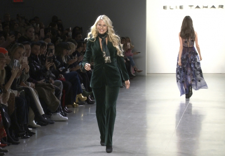 This image taken from video shows model Christie Brinkley walking the runway at the Elie Tahari show during Fashion Week in New York on Thursday, Feb. 7, 2019. (AP Photo/Aron Ranen)