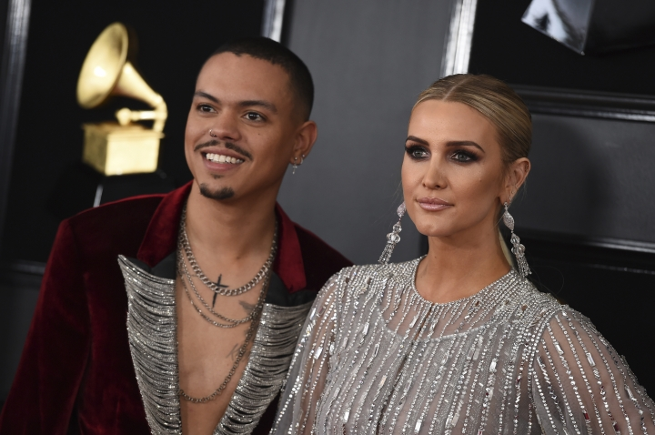 Evan Ross, left, and Ashlee Simpson arrive at the 61st annual Grammy Awards at the Staples Center on Sunday, Feb. 10, 2019, in Los Angeles. (Photo by Jordan Strauss/Invision/AP)