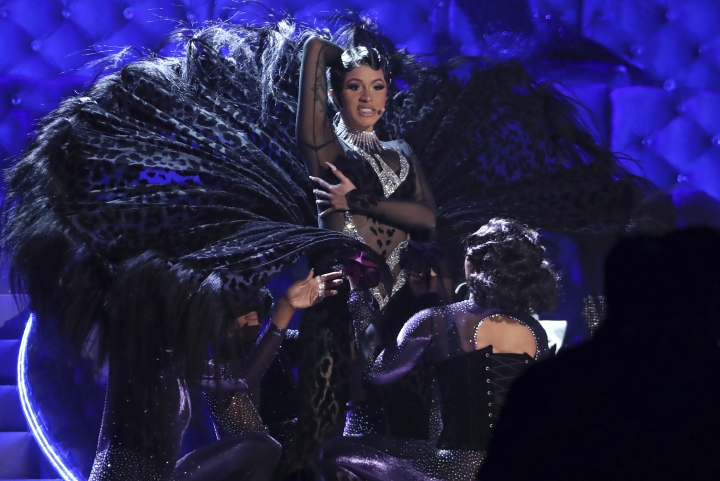 "Cardi B performs ""Money"" at the 61st annual Grammy Awards on Sunday, Feb. 10, 2019, in Los Angeles. (Photo by Matt Sayles/Invision/AP)"