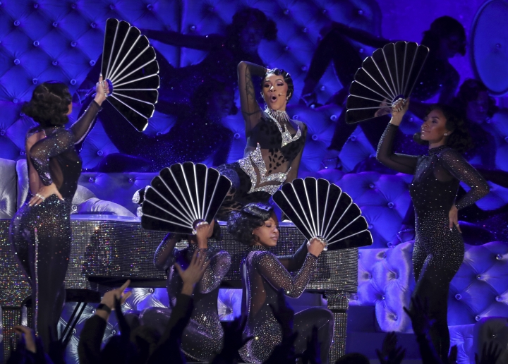 """Cardi B performs """"Money"""" at the 61st annual Grammy Awards on Sunday, Feb. 10, 2019, in Los Angeles. (Photo by Matt Sayles/Invision/AP)"""
