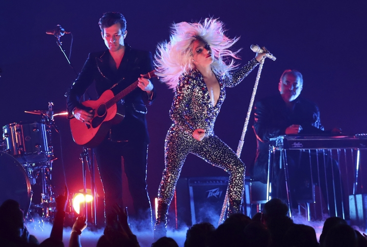 """Lady Gaga, right, and Mark Ronson perform """"Shallow"""" at the 61st annual Grammy Awards on Sunday, Feb. 10, 2019, in Los Angeles. (Photo by Matt Sayles/Invision/AP)"""