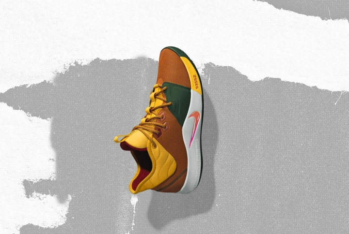 In this undated image provided by Nike, a shoe that Oklahoma City Thunder's Paul George will wear for the NBA All-Star Game is shown. The 68th NBA All-Star Game will be played in Charlotte, N.C. on Feb. 17, 2019. (Nike via AP)