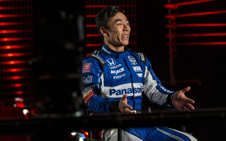 IndyCar driver Takuma Sato is interviewed during IndyCar auto racing media day, Monday, Feb. 11, 2019, in Austin, Texas. (AP Photo/Stephen Spillman)
