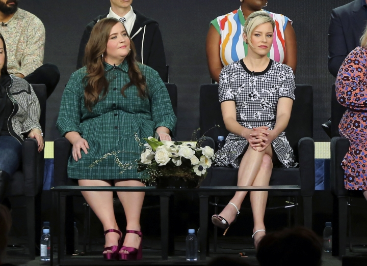 "Aidy Bryant, left, and Elizabeth Banks participate in the ""Shrill"" panel during the Hulu presentation at the Television Critics Association Winter Press Tour at The Langham Huntington on Monday, Feb. 11, 2019, in Pasadena, Calif. (Photo by Willy Sanjuan/Invision/AP)"