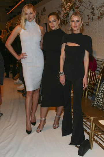 Karlie Kloss, from left, Ashley Graham and Nicky Hilton Rothschild attend the NYFW Fall/Winter 2019 Brandon Maxwell fashion show at Hotel Pennsylvania on Saturday, Feb. 9, 2019, in New York. (Photo by Andy Kropa/Invision/AP)