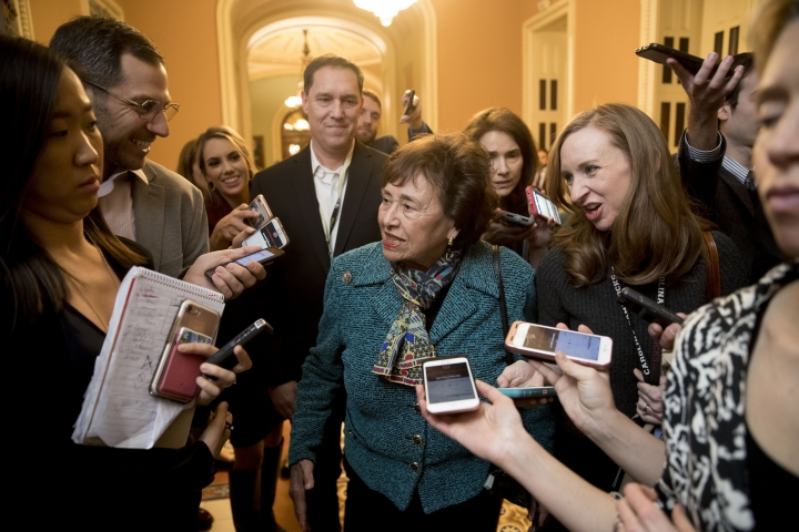 House Appropriations Committee Chair Nita Lowey, D-N.Y., speaks to reporters as she walks out of a closed-door meeting at the Capitol as bipartisan House and Senate bargainers trying to negotiate a border security compromise in hope of avoiding another government shutdown on Capitol Hill, Monday, Feb. 11, 2019, in Washington. (AP Photo/Andrew Harnik)
