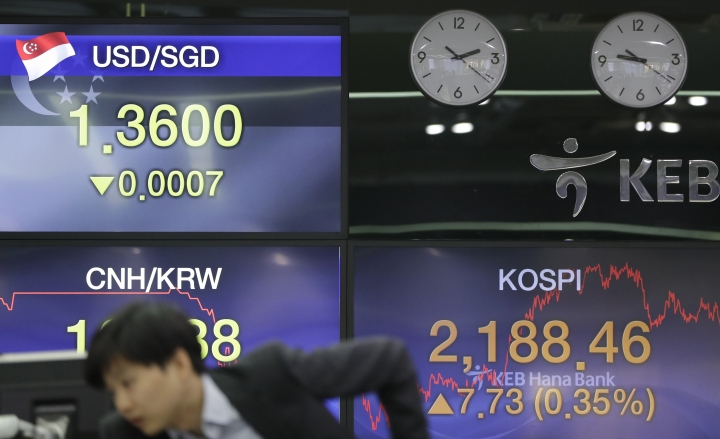A currency trader watches the computer monitors near the screens showing the Korea Composite Stock Price Index (KOSPI), right, and the foreign exchange rates at the foreign exchange dealing room in Seoul, South Korea, Tuesday, Feb. 12, 2019. Asian stocks rose Tuesday following a listless day on Wall Street as investors looked ahead to U.S.-Chinese trade talks. (AP Photo/Lee Jin-man)