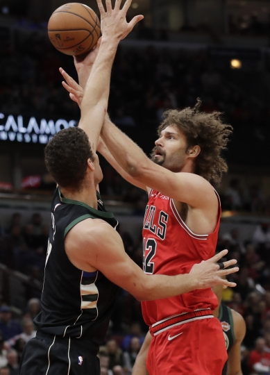 Chicago Bulls center Robin Lopez, right, shoots against Milwaukee Bucks center Brook Lopez during the first half of an NBA basketball game Monday, Feb. 11, 2019, in Chicago. (AP Photo/Nam Y. Huh)